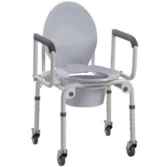 Стальной стул-туалет на колёсах с откидными подлокотниками OSD-2107D